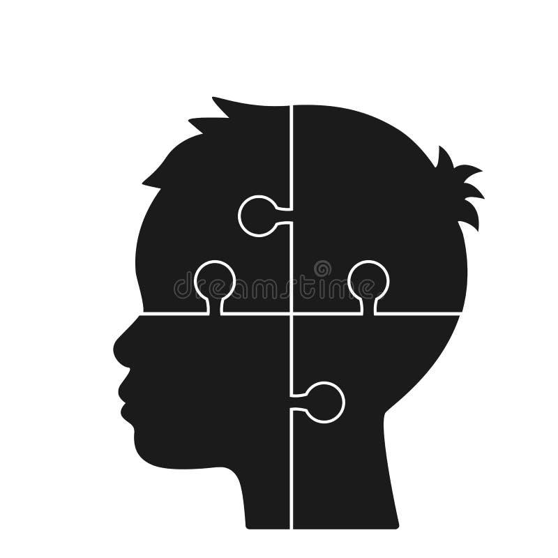 La testa umana consiste dei puzzle concetto di intelletto, di minerale metallifero mentale o di salute mentale Illustrazione pian illustrazione di stock