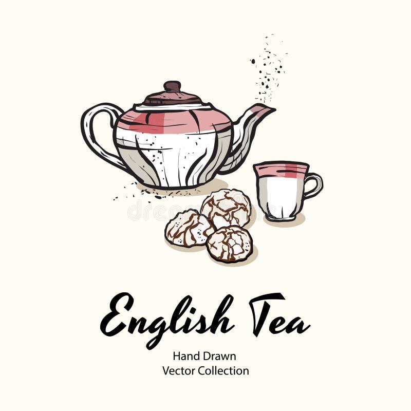 La tetera, la taza y las galletas rosadas dan a ejemplo exhausto del vector el viejo estilo para el menú del café, logotipo, band ilustración del vector