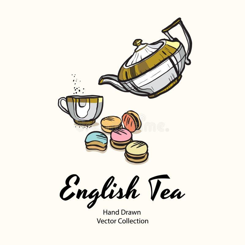 La tetera, la taza y los macarrones del oro dan a ejemplo exhausto del vector el viejo estilo para el menú del café, logotipo, ba stock de ilustración