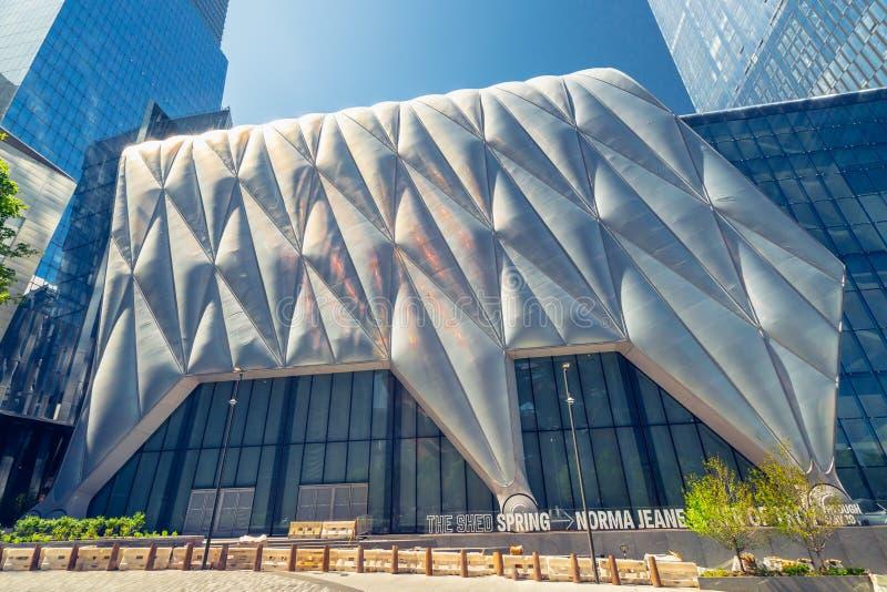 La tettoia, nuovo punto di riferimento, centro culturale in Hudson Yards, Manhattan, NYC immagini stock libere da diritti