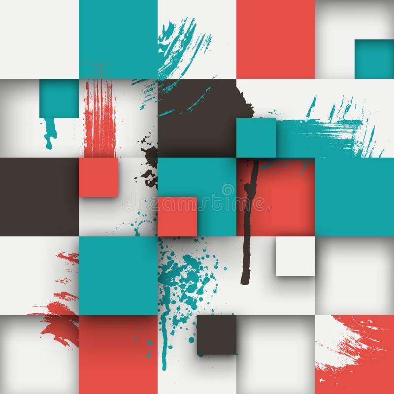 La textura abstracta con los cuadrados y la pintura salpica stock de ilustración