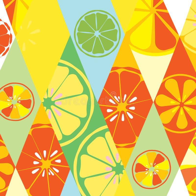 La textura amarilla del verano con un modelo de limones abona el dulce sabroso tropical de la vitamina con cal de la fruta fresca stock de ilustración