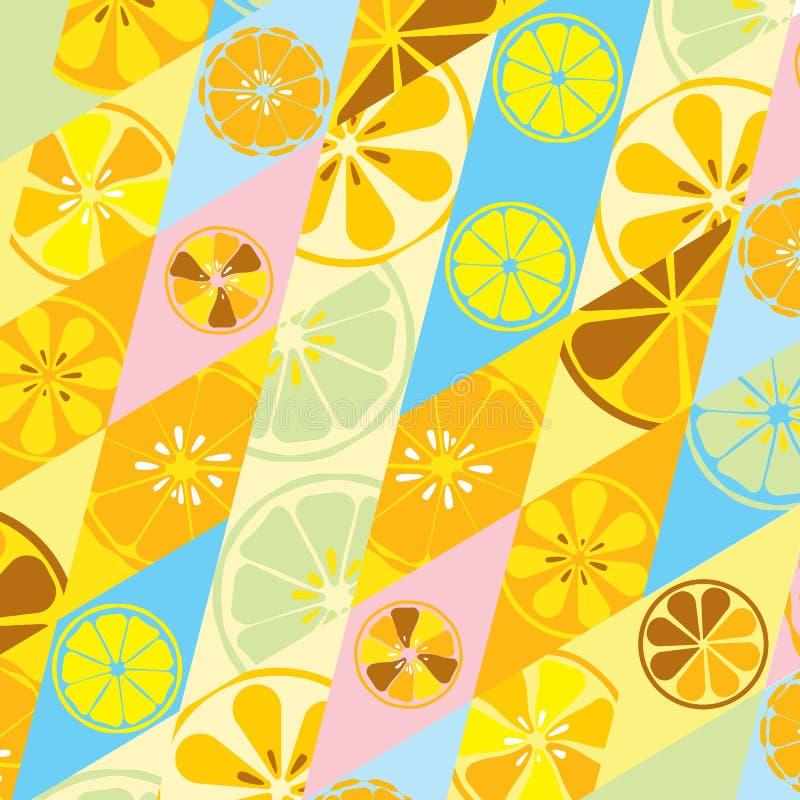 La textura amarilla del verano con un modelo de limones abona el dulce sabroso tropical de la vitamina con cal de la fruta fresca ilustración del vector