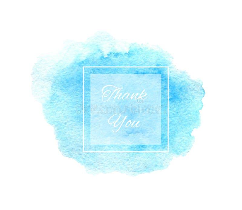 La textura azul de la acuarela con el marco cuadrado y le agradece mandar un SMS ilustración del vector