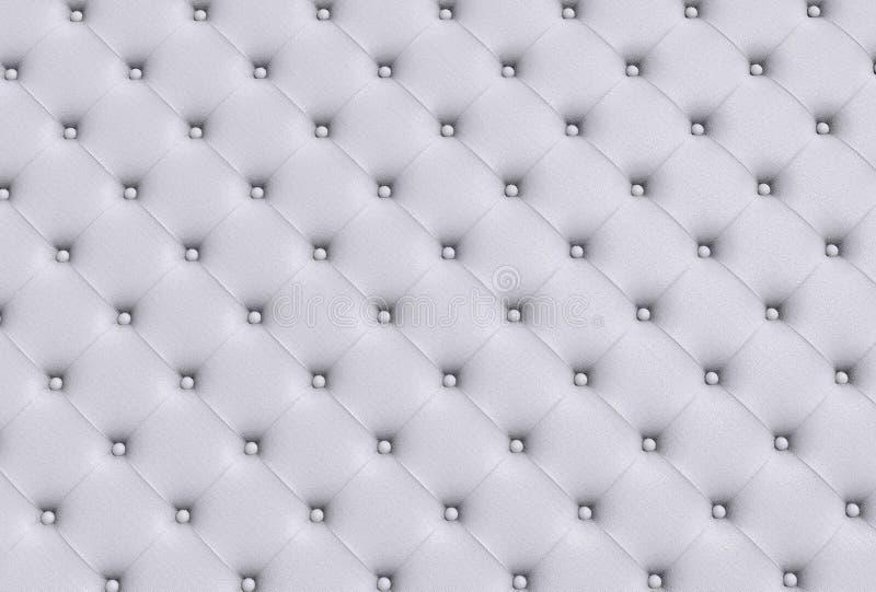 La textura blanca de la piel acolchó el sofá fotos de archivo