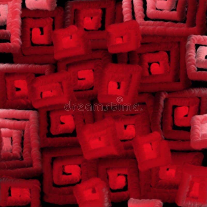La textura borrosa de cuadrados rojos enciende la abstracción para un fondo ilustración del vector