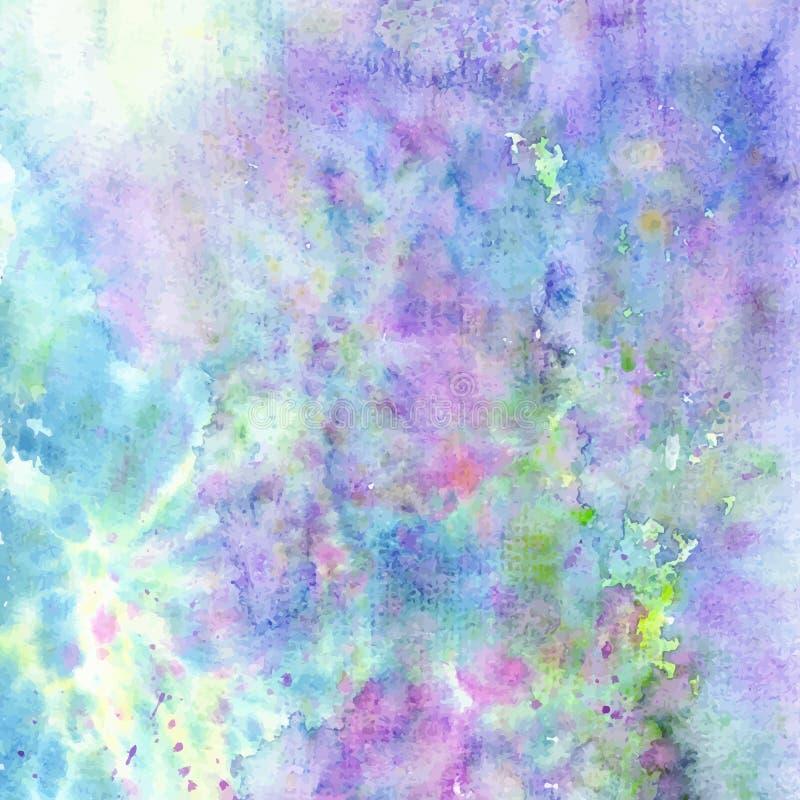 La textura colorida del fondo de la acuarela con salpica Ilustración del vector foto de archivo