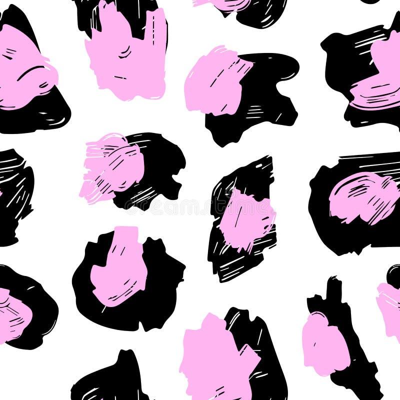 La textura de los puntos del leopardo Modelo del leopardo para las materias textiles puntos Rosado-negros en un fondo blanco ilustración del vector
