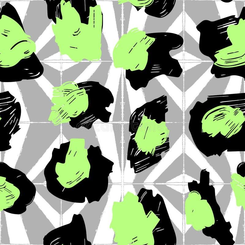 La textura de los puntos del leopardo Modelo del leopardo para las materias textiles puntos Verde-negros en el fondo con geométri libre illustration