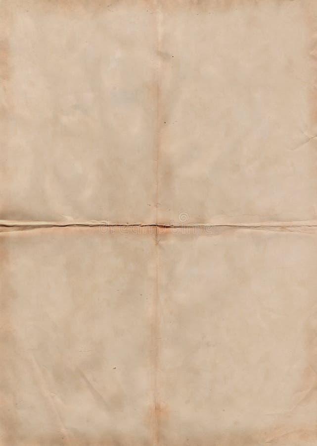 La textura de papel antigua doblada, puede utilizar para el fondo imagen de archivo