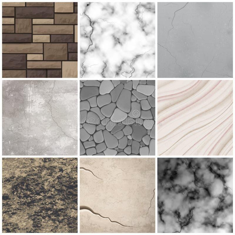 La textura de piedra realista modela la colección libre illustration