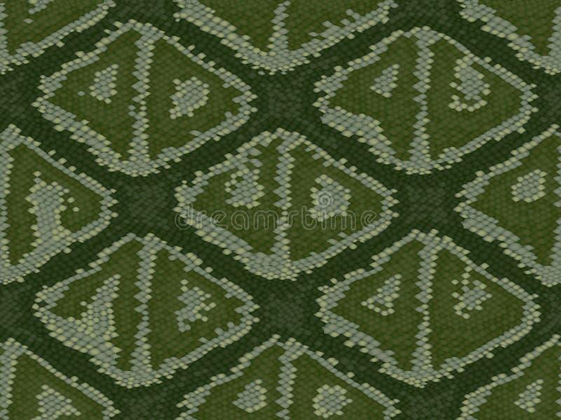 La textura de la piel del cocodrilo o de la serpiente, repite grunge beige negro verde inconsútil ilustración del vector