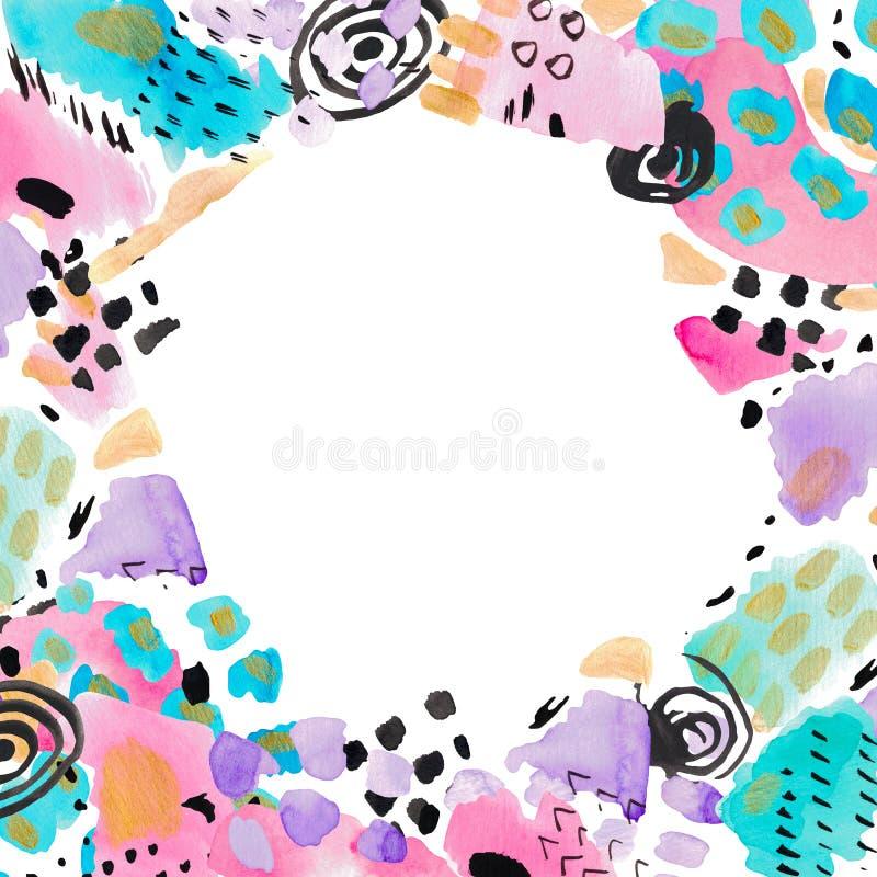 La textura decorativa de los puntos del marco pintado a mano de la composición del collage del extracto del ejemplo de la acuarel stock de ilustración