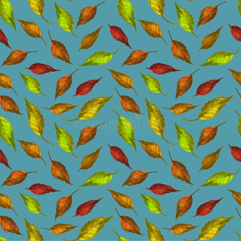 La textura del modelo deja a papel pintado del fondo verde colorido de la decoraci?n de la materia textil del dise?o del arte roj libre illustration