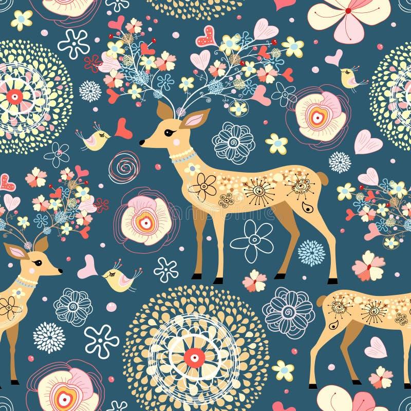 La textura es ciervo fabuloso de la flor ilustración del vector