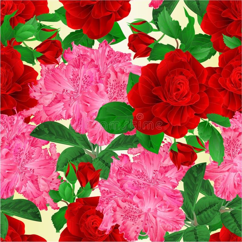 La textura inconsútil proviene la rosa roja de las flores y el ejemplo rosado del vector del vintage del fondo de la naturaleza d ilustración del vector