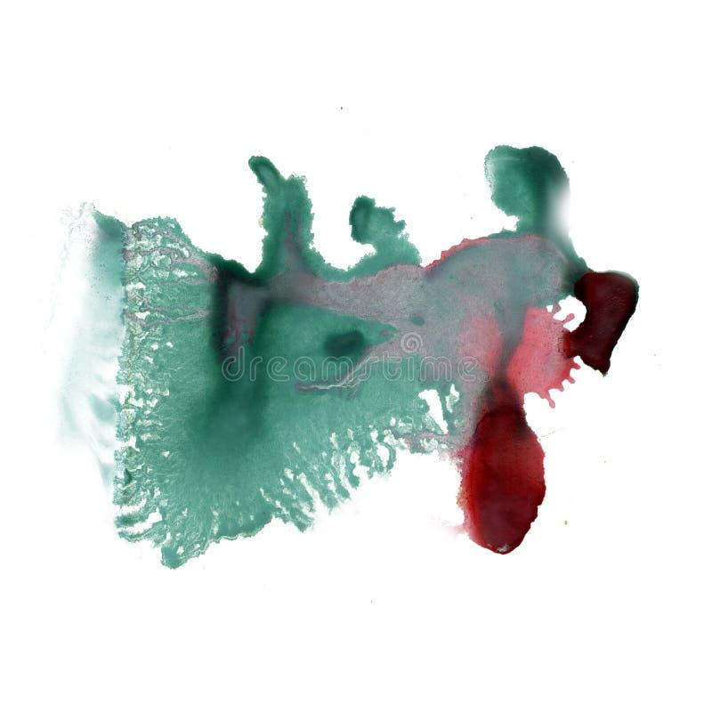 La textura macra de la mancha del punto de la acuarela líquida del tinte del watercolour de la salpicadura de la tinta aisló rojo fotos de archivo
