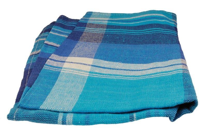 La textura natural de la servilleta de tabla del lino, azul texturizó el primer macro de lino aislado vertical detallada grande d foto de archivo libre de regalías