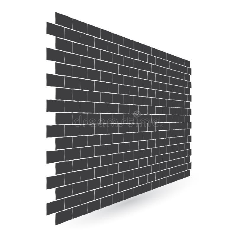 La textura negra diagonal de la pared de ladrillo con una perspectiva se aísla en el fondo blanco stock de ilustración