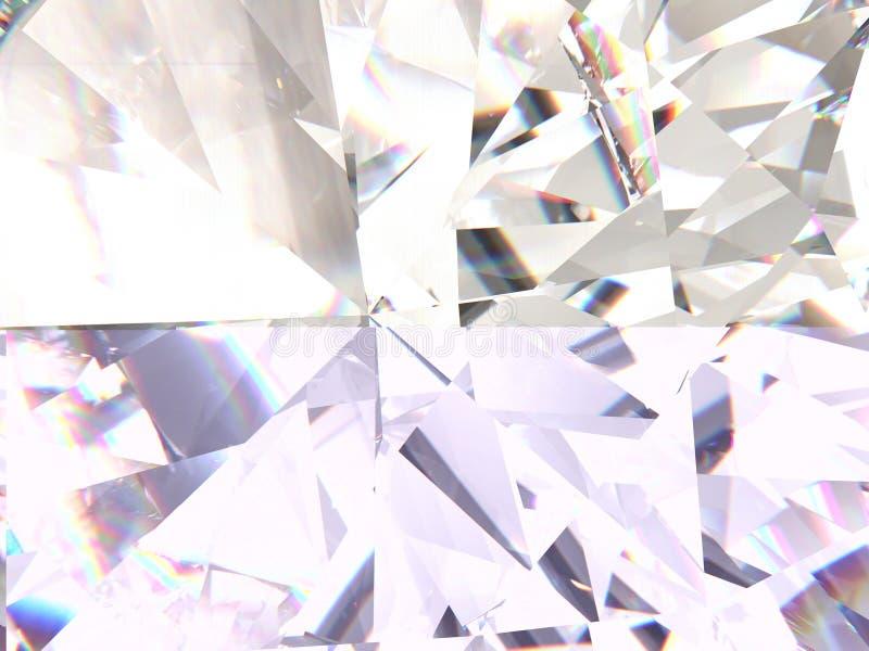 La textura realista del diamante se refractó las capas macras, 3D rinde ilustración del vector