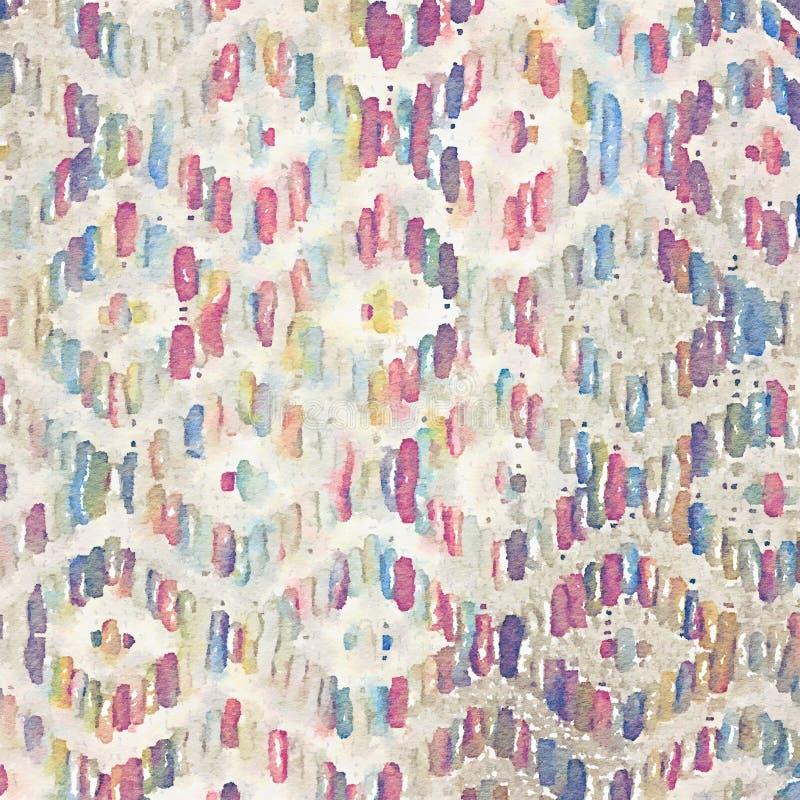 La textura tejida fondo abstracto de la manta pintó el ejemplo de la acuarela ilustración del vector