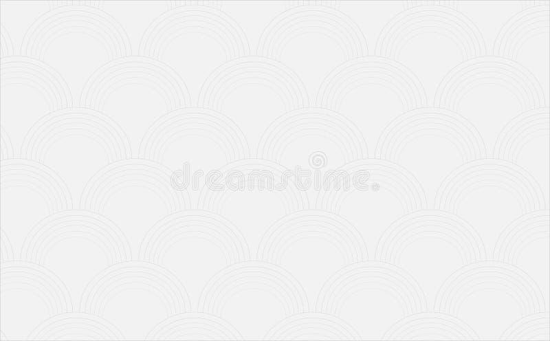 La texture blanche sans couture de voûtes, courbent le modèle géométrique circulaire, 3 D, fond moderne illustration de vecteur
