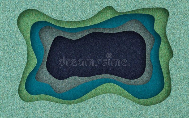 La texture de tissu a coupé le fond abstrait avec des formes coupées débordantes rendu 3d illustration stock