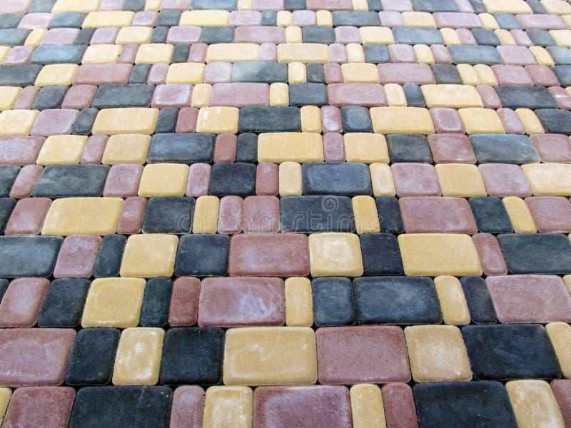 La texture ` de ville de ` de pavés de trois-couleur du vieux, vue supérieure photos stock