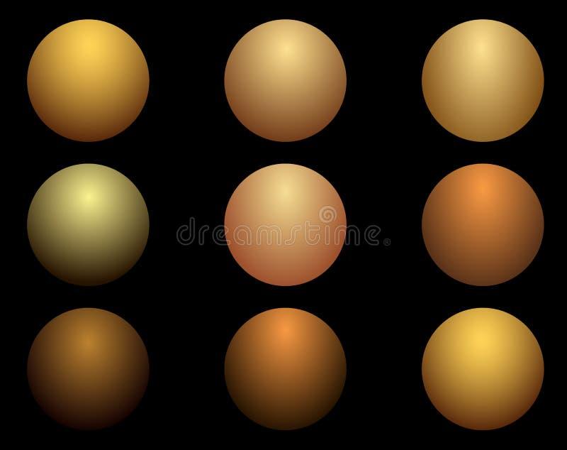 La texture des boules d'or en métal Illustration de vecteur photo stock