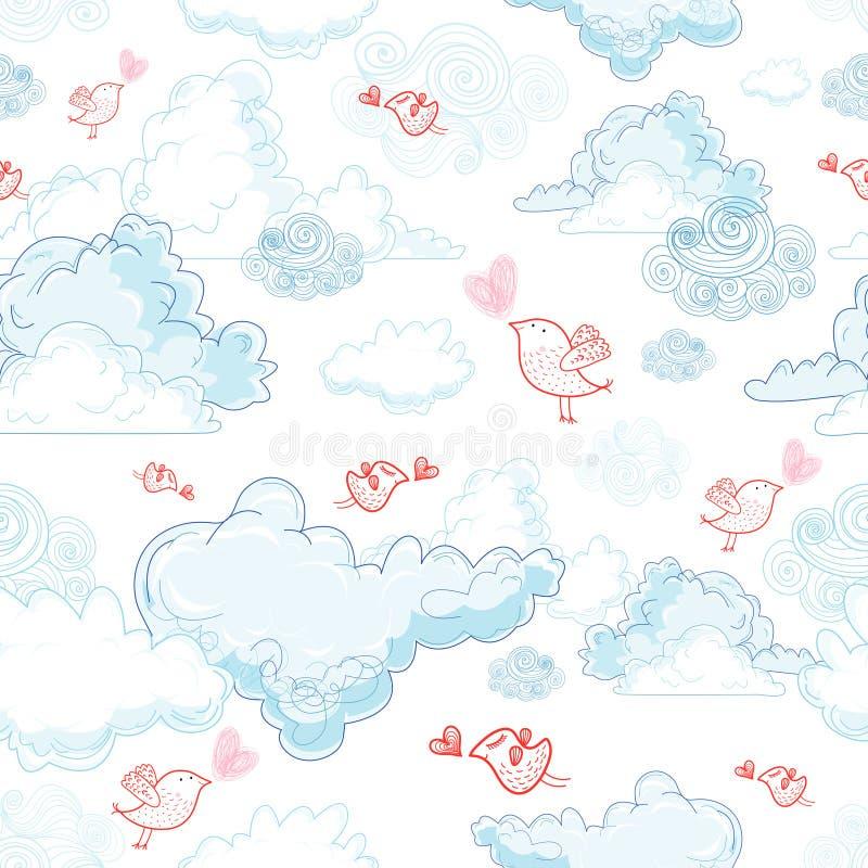 La texture des nuages et des oiseaux dans l'amour illustration libre de droits