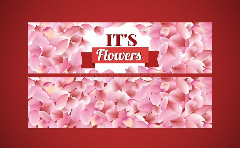 La texture des pétales de a monté, Sakura et lotus sur le fond rouge bannière accrochante large florale illustration stock