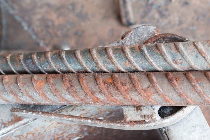 La texture des tiges de rebar de construction empilées photos libres de droits