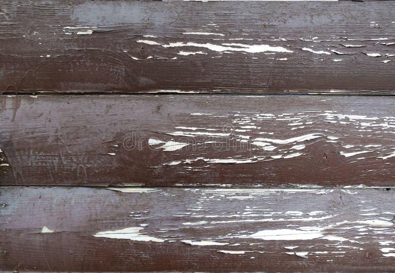 La texture du conseil avec ?plucher la peinture Fond abstrait pour la conception Brown avec les conseils arrondis blancs Panneau  image stock