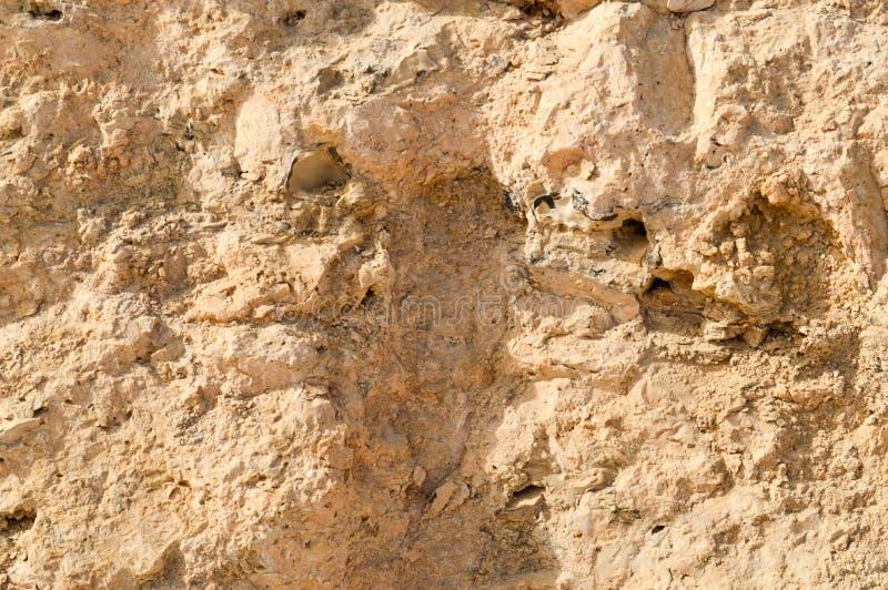 la texture du mur est faite en vieille pierre putréfiée friable arénacée jaune de roche avec des tessons, des trous et des couche photographie stock libre de droits