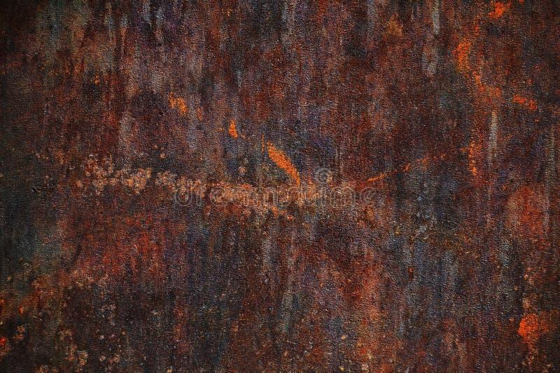 La texture en acier de Corten, plaque d'acier rustique, survivant à l'acier, s'est rouillée le fond en métal, brun et orange image libre de droits