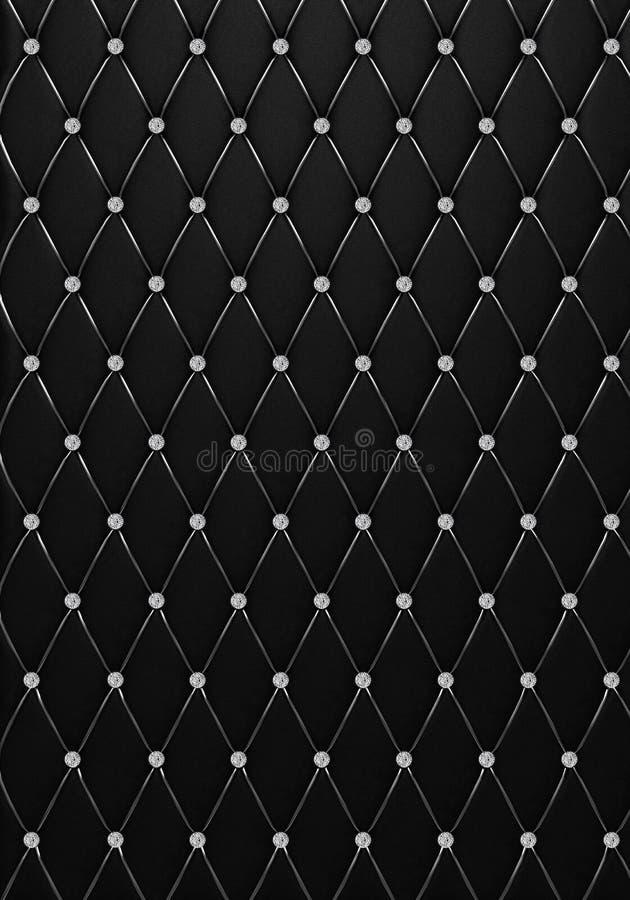 La texture en cuir Bouton-tuftée noire avec des diamants images stock