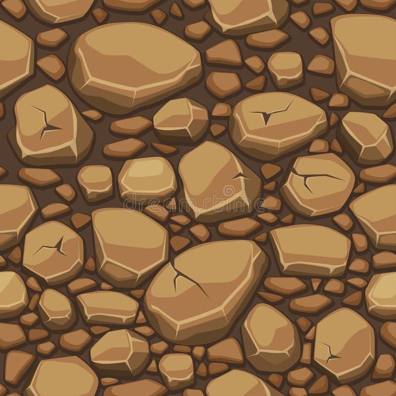 La texture en pierre de bande dessinée dans le brun colore le fond sans couture illustration stock