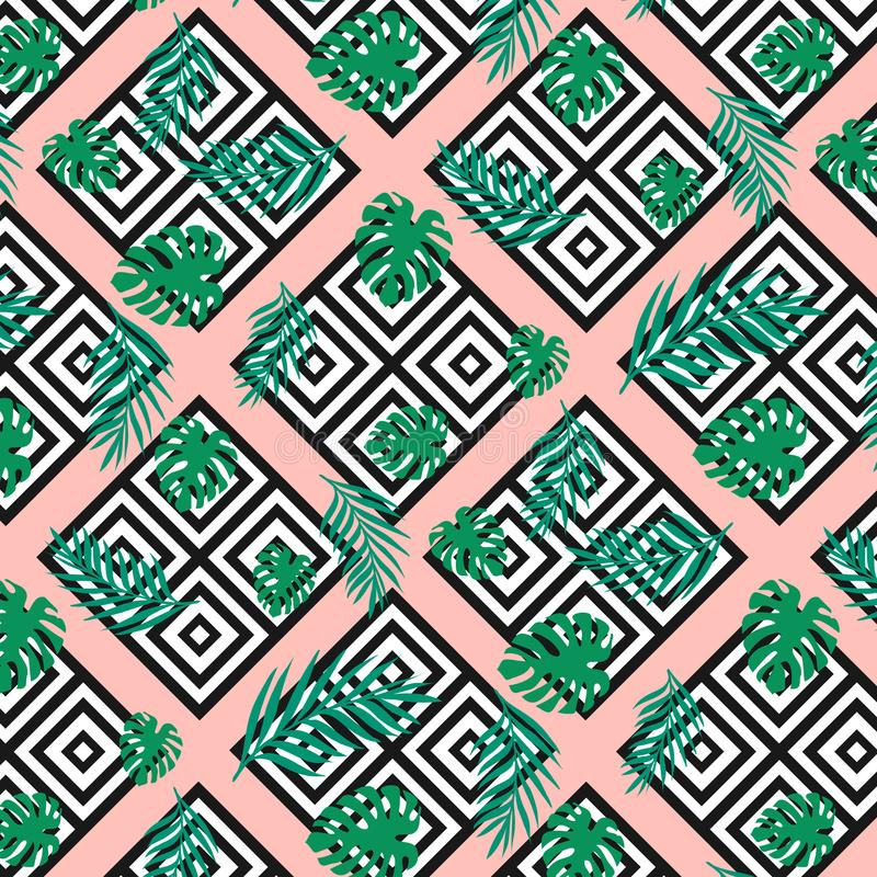La texture géométrique moderne sans couture ajuste avec les palmettes tropicales exotiques de vert de jungle sur le fond rose Noi illustration de vecteur