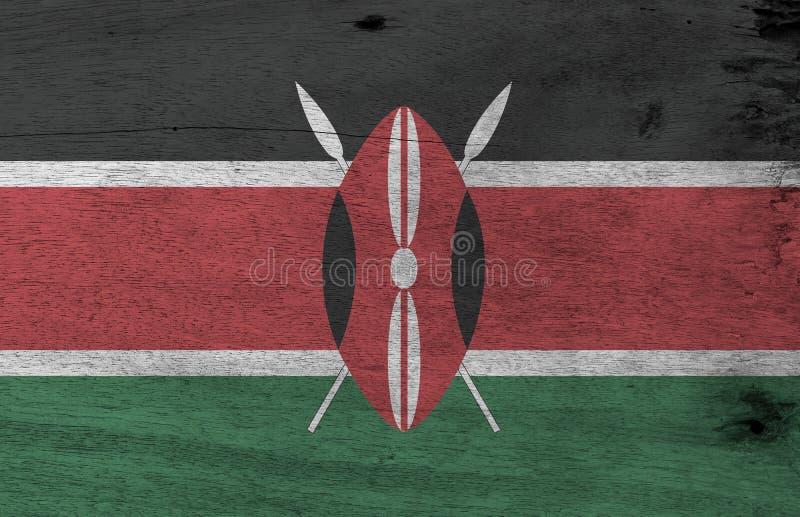 La texture kenyane grunge de drapeau, le rouge blanc noir et le vert avec deux ont croisé les lances blanches derrière un rouge,  illustration de vecteur