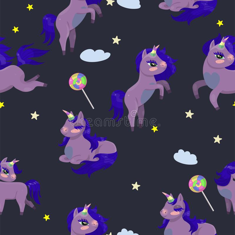 La texture sans couture avec les licornes magiques et les lucettes dirigent l'image illustration de vecteur