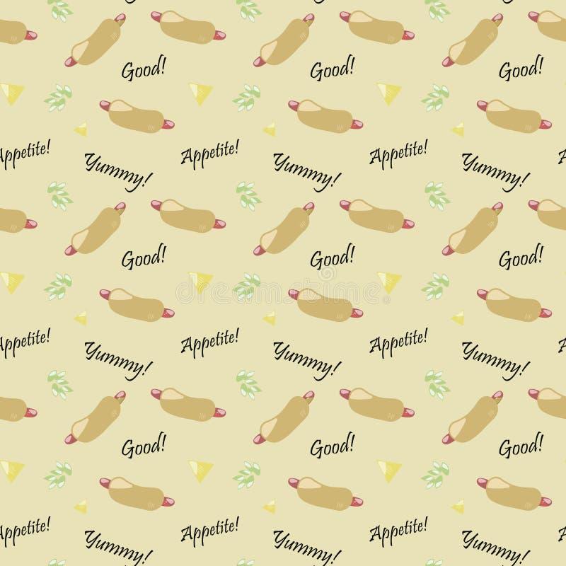 La texture sans couture jaune de texture avec le vert appétissant délicieux d'inscriptions chaudes beiges de caneton laisse la no illustration stock