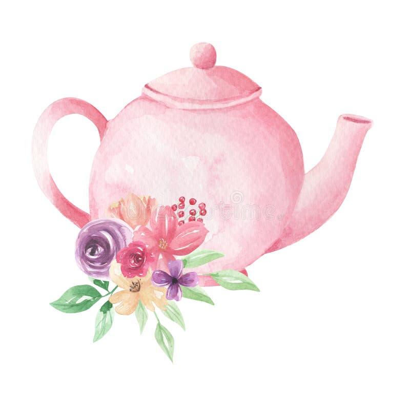 La théière en pastel rose fleurit l'arrangement floral de thé d'après-midi de feuillage d'aquarelle illustration de vecteur