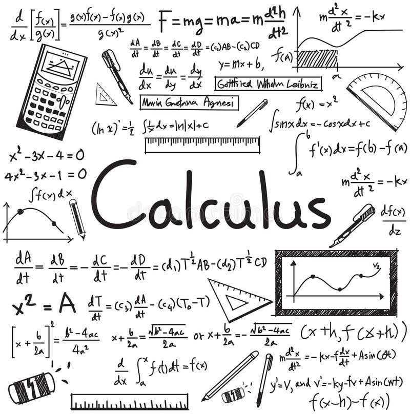 La théorie de loi de calcul et l'équation de formule mathématique gribouillent illustration stock