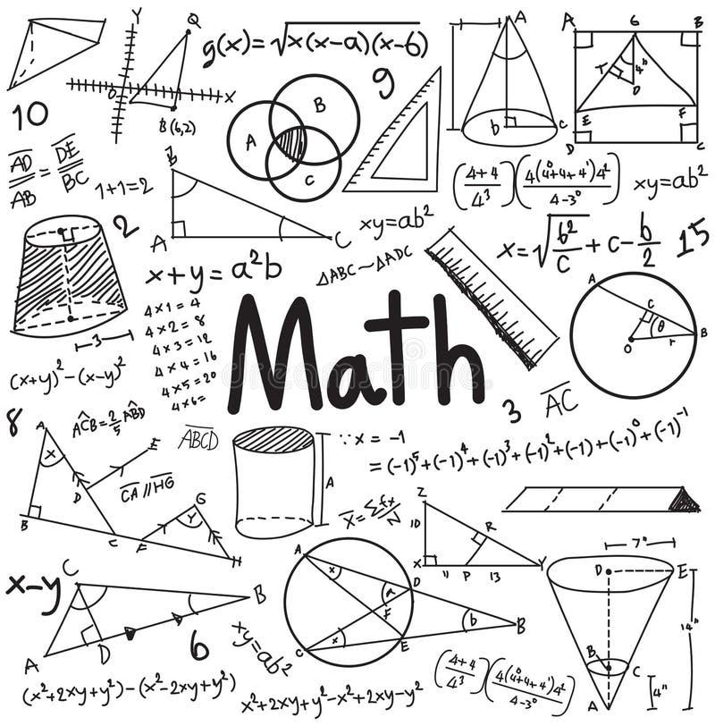 La théorie de maths et l'équation de formule mathématique gribouillent l'écriture illustration de vecteur