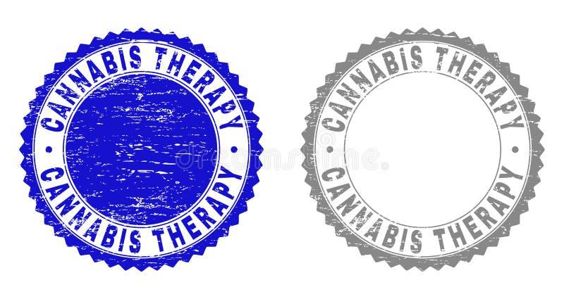 La THÉRAPIE de CANNABIS grunge a rayé des joints de timbre illustration de vecteur