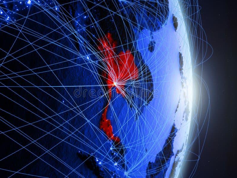 La Thaïlande sur la terre numérique bleue bleue images stock