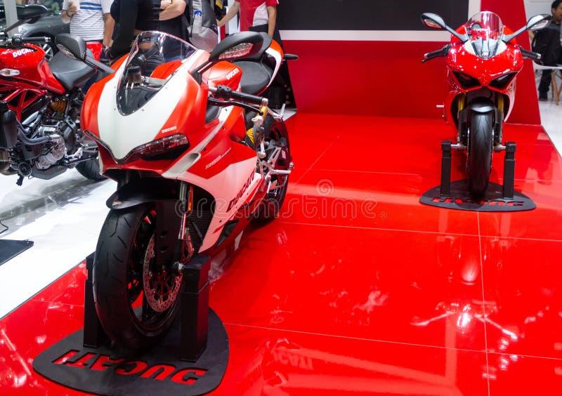 La Tha?lande - d?cembre 2018 : la fin vers le haut de la motocyclette de Ducati 959 Panigale Corse a pr?sent? dans l'expo Nonthab photo stock