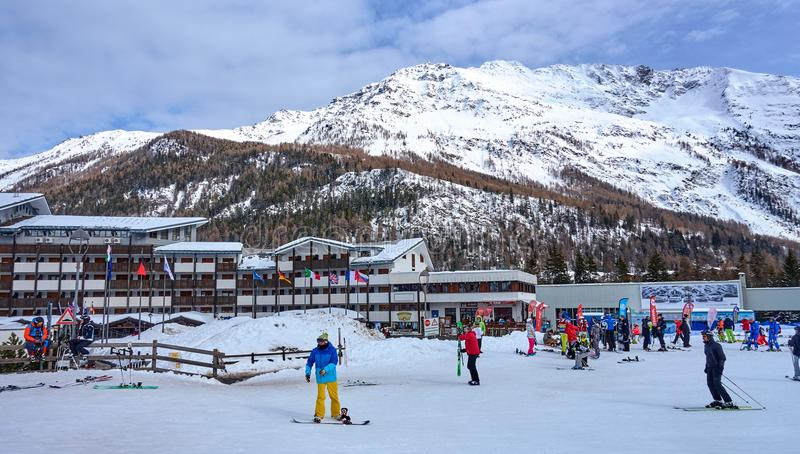 LA THUILE, ITALY - MARCH 4, 2018: Ski station on 4 March 2018 in. La Thuile, Italy. The San Bernardo Pass routes connect the ski areas in Italy with the areas stock photo
