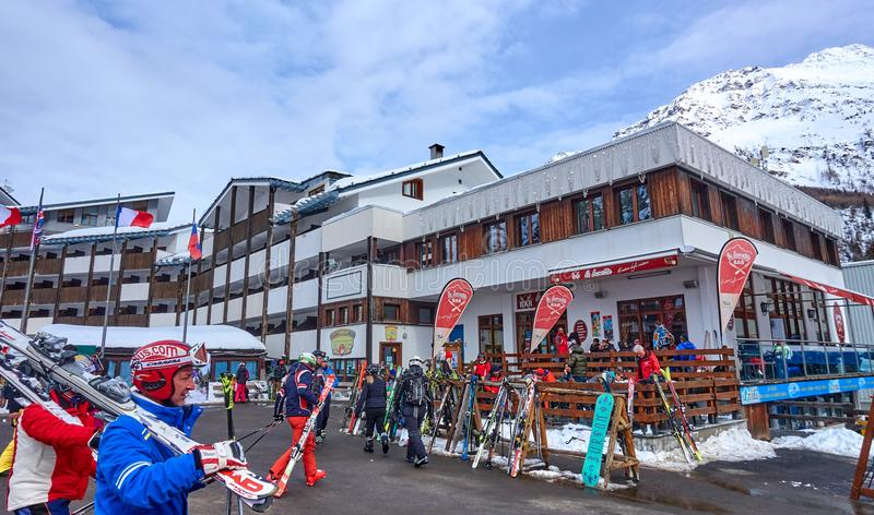 LA THUILE, ITALY - MARCH 4, 2018: Ski station on 4 March 2018 in. La Thuile, Italy. The San Bernardo Pass routes connect the ski areas in Italy with the areas royalty free stock images