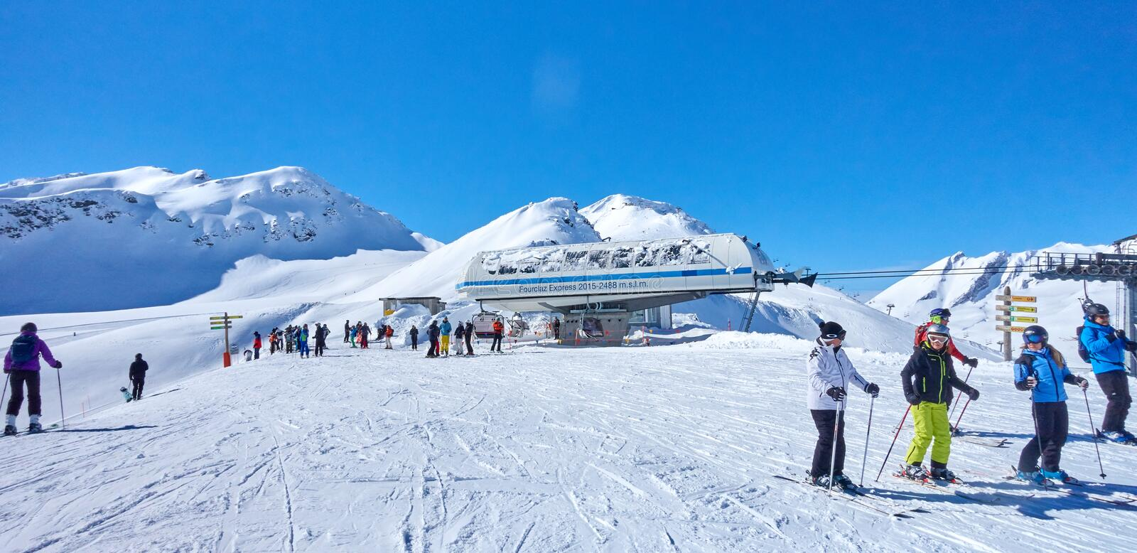 LA THUILE, ITALY - MARCH 4, 2018: Skiing on the San Bernardo Pas. S on 4 March 2018 in La Thuile, Italy. The San Bernardo Pass routes connect the ski areas in royalty free stock photo